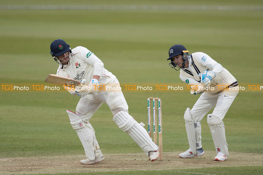 Rob Jones of Lancashire CCC helps the ball square and collects runs during Middlesex CCC vs Lancashire CCC, Specsavers County Championship Division 2 Cricket at Lord's Cricket Ground on 12th April 2019