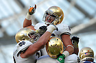 Sep 1, 2012; Tyler Eifert (80) celebrates after a second quarter touchdown against the Navy Midshipmen at Aviva Stadium. ..Photo by Matt Cashore/University of Notre Dame