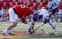 UAlbany Men's Lacrosse defeats Stony Brook on March 31 at Casey Stadium.  Albany's TD Ierlan (#3) wins one of his 24 faceoffs (100%).