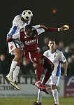 Picture by David Horn/Extreme Aperture Photography +44 7545 970036.18/02/2013.An aerial battle during the game between Chelmsford City and Havant & Waterville during the Blue Square Bet Blue Square South  League match at Melbourne Stadium, Chelmsford, Essex.