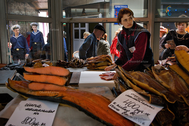 Fish market in Petropavlovsk in the main city market.