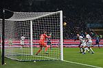 Romelu Lukaku of Inter scores with a header to give the side a 3-0 lead during the Coppa Italia match at Giuseppe Meazza, Milan. Picture date: 14th January 2020. Picture credit should read: Jonathan Moscrop/Sportimage