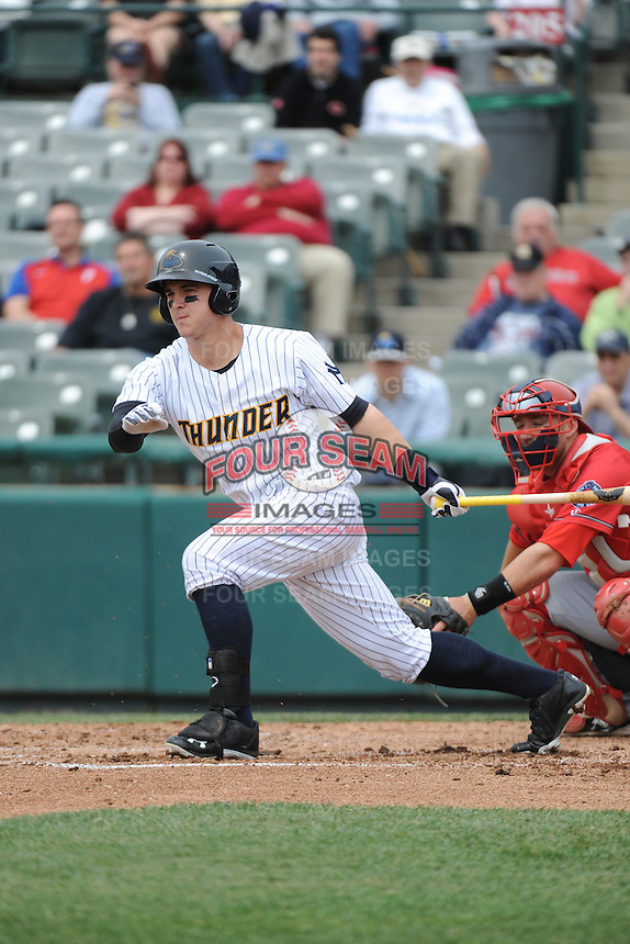 Trenton Thunder outfielder Tyler Austin (17) during the game against the Harrisburg Senators at ARM & HAMMER Park on May 21, 2014 in Trenton, New Jersey.  Harrisburg defeated Trenton 9-0.  (Tomasso DeRosa/Four Seam Images)