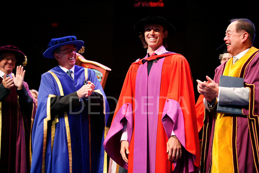 Six time NBA All-Star and two time NBA Most Valuable Player recipient, Steve Nash, receives applause after accepting an Honourary Doctor of Laws degree at a special convocation ceremony at the University of Victoria in the University Centre Farquhar Auditorium in Victoria, BC, British Columbia, Canada. Photo assignmnet for the Canadian Press (CP) and Associated Press (AP) news wire services.