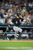 Yolmer Sanchez (5) of the Chicago White Sox follows through on his swing against the Detroit Tigers at Comerica Park on June 2, 2017 in Detroit, Michigan.  The Tigers defeated the White Sox 15-5.  (Brian Westerholt/Four Seam Images)
