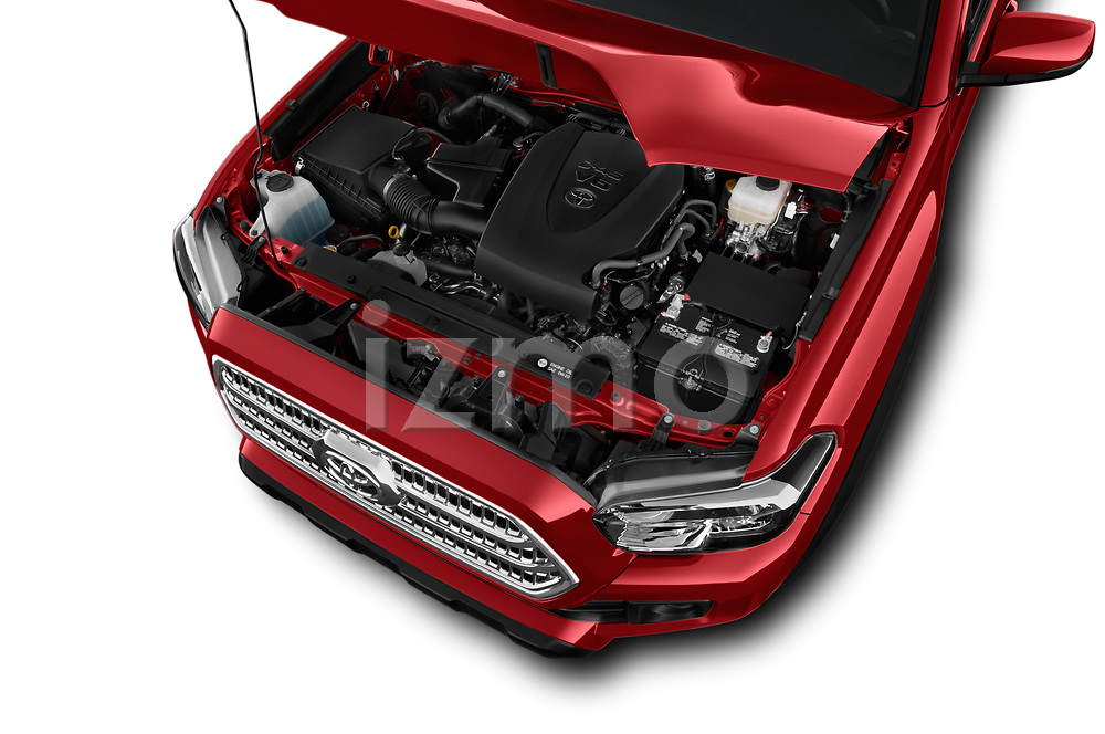 Car stock 2016 Toyota Tacoma TRD Off Road Double 4 Door Pick Up engine high angle detail view