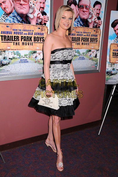 "NICHOLE HILTZ.""Trailer Park Boys: The Movie"" Los Angeles Premiere at the Laemmle's Sunset 5 Theatre, West Hollywood, California, USA..January 23rd, 2008.full length black white lace strapless dress nicole.CAP/ADM/BP.©Byron Purvis/AdMedia/Capital Pictures."
