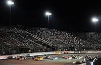 May 2, 2008; Richmond, VA, USA; NASCAR Nationwide Series driver Kevin Harvick (33) leads a pack of cars during the Lipton Tea 250 at the Richmond International Raceway. Mandatory Credit: Mark J. Rebilas-US PRESSWIRE