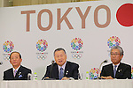 (L to R) Toshiro Muto, Yoshiro Mori . Tsunekazu Takeda, JANUARY 24, 2014 : Tokyo Organising Committeee of the Olympic and Paralympic Games member attend press conference in Tokyo, Japan. The Tokyo Organising Committee of the Olympic and Paralympic Games (Tokyo 2020) was formally established today and will be headed by former Prime Minister of japan Yoshiro Mori.  Photo by Yusuke Nakansihi/AFLO SPORT) [1090]