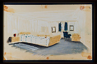 BNPS.co.uk (01202 558833)<br /> Pic: RYBritannia/BNPS<br /> <br /> Prince Phiips bedroom sketch.<br /> <br /> Sir Hugh Casson's original design sketches for the Royal Yacht have come to light - after his daughter Carola presented colour slides to the Trust in Leith, Edinburgh. <br /> <br /> The sketches of the yacht's state rooms, the vision of renowned architect Sir Hugh Casson, reveal the Queen's love of simple yet modern design.<br /> <br /> Britannia was launched in 1953, two months prior to the Queen's coronation, and clocked up more than one million miles up until 1997 when it was decomissioned.<br /> <br /> Sir Hugh was commissioned to put forward ideas after the Queen and the Duke of Edinburgh shunned original designs put forward by the yacht's builders.<br /> <br /> Far from the majesty of their Victorian palaces, the Royal couple wanted the yacht to be a contemporary 'home from home'.<br /> <br /> Britannia Trust head Bob Downey said 'It is a testament to Sir Hugh's skills that the Queen never updated his stylish original designs.'