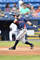 Rome Braves shortstop Marcus Mooney (2) swings at a pitch during a game against the Asheville Tourists at McCormick Field on June 12, 2017 in Asheville, North Carolina. The Tourists defeated the Braves 7-0. (Tony Farlow/Four Seam Images)