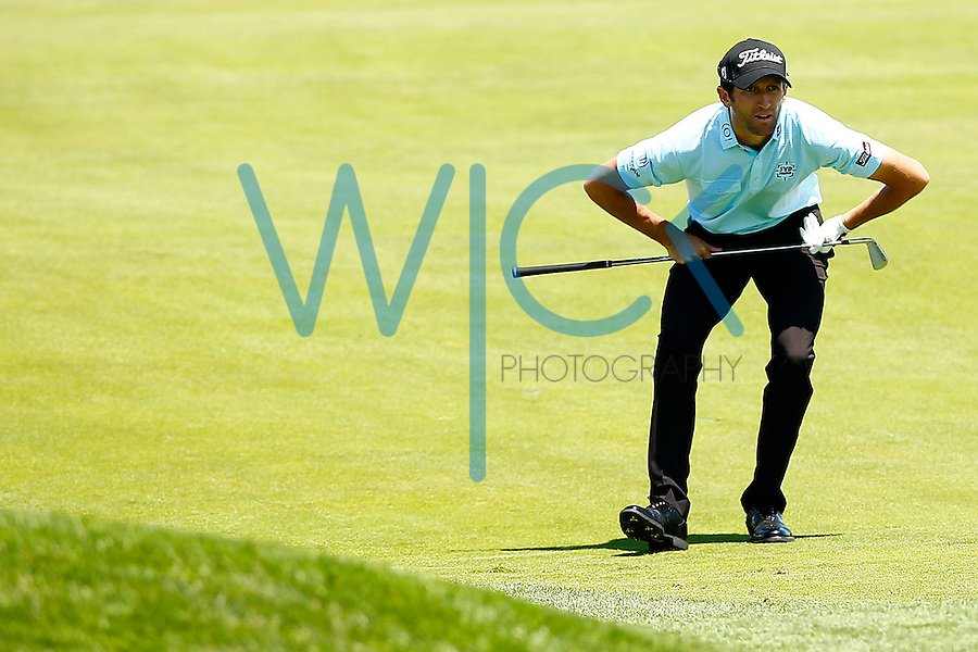 Gregory Bourdy reacts following his second shot from the 18th fairway during the 2016 U.S. Open in Oakmont, Pennsylvania on June 18, 2016. (Photo by Jared Wickerham / DKPS)