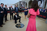 Adrien Brody was present at the Film Festival of Ostend to inaugurate a star with his name on the promenade front of the sea with Moran Atias who have photography the star . Ostend, Belgium, 19 September 2014l