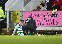 29th January 2020; McDairmid Park, Perth, Perth and Kinross, Scotland; Scottish Premiership Football, St Johnstone versus Celtic; Mikey Johnston of Celtic is treated at the side of the pitch after initially breaking down