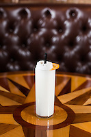 The Ramos Gin Fizz (Plymouth Gin, cream, egg white, lemon, lime, sugar, orange flower water, seltzer) at Bar Virgile in Durham, North Carolina on Tuesday, January 6, 2015. (Justin Cook)