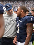 November 2, 2013  (State College, Pennsylvania)  Coach Bill O'Brien chats with running back Bill Belton #1 of the Penn State Nittany Lions after the game. Penn State won 24-17 in OT. (Photo by Don Baxter/Media Images International)