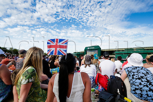 10.07.2015.  Wimbledon, England. The Wimbledon Tennis Championships. A general view of the crowd of fans watching the action on 'Murray Mound' watching Gentlemens Singles Semi-Final match between third seed Andy Murray (GBR) and second seed Roger Federer (SUI).
