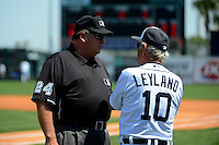 Detroit Tigers manager Jim Leyland #10 talks with umpire Jerry Layne #24 during a Spring Training game against the Tampa Bay Rays at Joker Marchant Stadium on March 29, 2013 in Lakeland, Florida.  (Mike Janes/Four Seam Images)