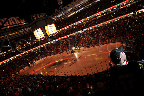 06 June 2010: An interior view of the UC prior to players introductions. The Chicago Blackhawks went on to take a one game lead in the Stanley Cup Finals, by defeating the Philadelphia Flyers, 7-4 at the United Center, Chicago, Il