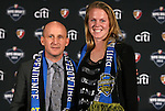 13 January 2012: CoCo Goodson (right), with head coach Paul Riley (left), was selected by the Philadelphia Independence with the 5th pick of the second round, twelfth overall. Women's Professional Soccer held the 2012 WPS Draft at the Kansas City Convention Center in Kansas City, MO.