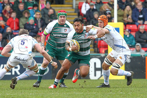 06.03.2016. Welford Road, Leicester, England. Aviva Premiership. Leicester Tigers versus Exeter Chiefs.  Centre Manu Tuilagi on there charge for Tigers.