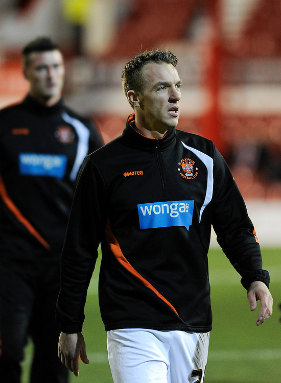 Blackpool's Anthony McMahon during the pre-match warm-up <br /> <br /> Photographer Ashley Western/CameraSport<br /> <br /> Football - The Football League Sky Bet League One - Brentford v Blackpool - Tuesday 24th February 2015 - Griffin Park - London<br /> <br /> &copy; CameraSport - 43 Linden Ave. Countesthorpe. Leicester. England. LE8 5PG - Tel: +44 (0) 116 277 4147 - admin@camerasport.com - www.camerasport.com