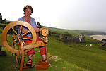 Weaver Sue Redican on the Blasket Islands, Co. Kerry.<br /> She has objected to the development of tourist facilities on the Great Blasket Island  and has written to the EU Commissioner for the Environment about the island. She is calling on Stavros Dimas to stop development works on the Great Blasket Island saying EU habitat directives are being ignored and the island will be spoiled forever.<br /> An Blascaoid Mor Teoranta, the largest landowner on the island plans to build a cafe and service building on the island, but this was appealed to An Bord Pleanala by a number of people including Sue Redican; and it's now the subject of an oral hearing which is to take place next week in Dingle. Opponents to the plans feel the island should be left as it was when evacuated in 1953.<br /> Picture: Eamonn Keogh (MacMonagle, Killarney)