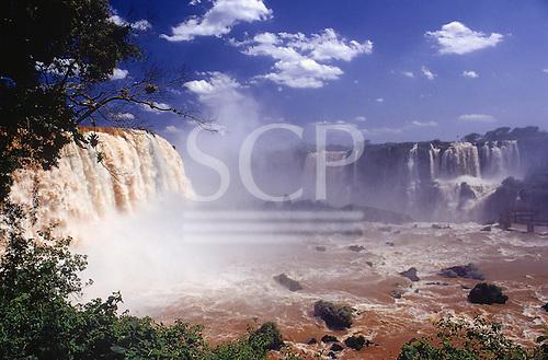 Iguassu Falls, Parana State, Brazil. View of the waterfalls, spray of water.