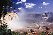 Iguassu Falls, Parana State, Brazil. View of the waterfalls, spray of water.