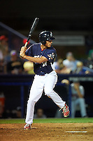 Reading Fightin Phils outfielder Cam Perkins (27) at bat during a game against the New Britain Rock Cats on August 7, 2015 at FirstEnergy Stadium in Reading, Pennsylvania.  Reading defeated New Britain 4-3 in ten innings.  (Mike Janes/Four Seam Images)