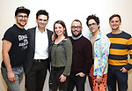 """creative team: orchestrator Charlie Rosen, composer-lyricist Joe Icons, musical director Emily Marshall, director Stephen Brackett, choreographer Chase Brock, and book writer Joe Tracz during the first day of rehearsals for the Broadway cast of """"Be More Chill"""" at Pearl Studios on January 10, 2019 in New York City."""