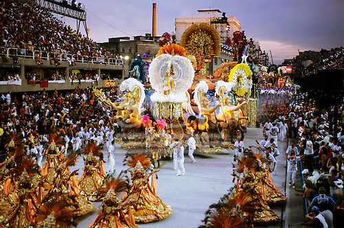 Rio de Janeiro, Brazil. Carnival; Beija Flor samba school float featuring centaurs at the parade in the sambadrome, Sapucai.