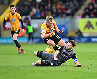 Lincoln City's Lee Frecklington battles with  Cambridge United's Harry Darling<br /> <br /> Photographer Andrew Vaughan/CameraSport<br /> <br /> The EFL Sky Bet League Two - Cambridge United v Lincoln City - Saturday 29th December 2018  - Abbey Stadium - Cambridge<br /> <br /> World Copyright © 2018 CameraSport. All rights reserved. 43 Linden Ave. Countesthorpe. Leicester. England. LE8 5PG - Tel: +44 (0) 116 277 4147 - admin@camerasport.com - www.camerasport.com