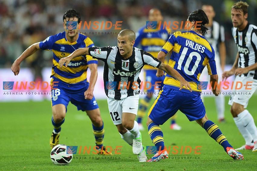 "Sebastian Giovinco Juventus (C), Jaime Valdes Parma (R).Torino 25/8/2012 ""Juventus"" stadium.Football Calcio 2012/2013 Serie A.Juventus Vs Parma.Foto Andrea Staccioli Insidefoto"