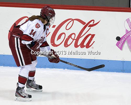 Jillian Dempsey (Harvard - 14) - The Boston College Eagles defeated the Harvard University Crimson 2-1 in the 2013 Beanpot opening round on Tuesday, February 5, 2013, at Matthews Arena in Boston, Massachusetts.