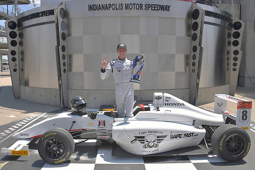 2017 F4 US Championship<br /> Rounds 4-5-6<br /> Indianapolis Motor Speedway, Speedway, IN, USA<br /> Sunday 11 June 2017<br /> Race #2 winner Kyle Kirkwood posed in the traditional Indy 500 podium<br /> World Copyright: Dan R. Boyd<br /> LAT Images