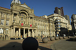 View of Council House and nearby buildings with stone ball sculptures in the foreground Victoria Square Birmingham