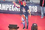 Atletico de Madrid Koke Resurreccion celebrating Europa League Championship at Neptune Fountain in Madrid, Spain. May 18, 2018. (ALTERPHOTOS/Borja B.Hojas)