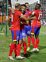 PASTO-COLOMBIA, 07-02-2020: Jugadores de Deportivo Pasto, celebran el gol anotado Atlético Bucaramanga, durante partido de la fecha 4 entre Deportivo Pasto y Atlético Bucaramanga por la Liga BetPlay DIMAYOR I 2020 jugado en el estadio Departamental Libertad de la ciudad de Pasto. / Players of Deportivo Pasto celebrate the scored goal to Atletico Bucaramanga, during a match of the 4th date between Deportivo Pasto and Atletico Bucaramanga for the BetPlay DIMAYOR I Leguaje 2020 played at the Departamental Libertad Stadium in Pasto city. / Photo: VizzorImage / Leonardo Castro / Cont.