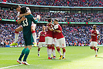 Granit Xhaka of Arsenal and Petr Cech of Arsenal celebrate after the The FA Community Shield match at Wembley Stadium, London. Picture date 6th August 2017. Picture credit should read: Charlie Forgham-Bailey/Sportimage