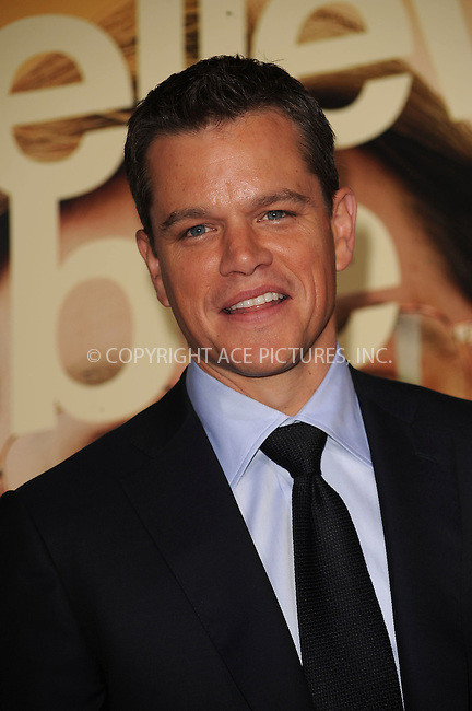 WWW.ACEPIXS.COM . . . . . ....September 15 2009, New York City....Actor Matt Damon arriving at the 'The Informant' benefit screening at the Ziegfeld Theatre on September 15, 2009 in New York City.....Please byline: KRISTIN CALLAHAN - ACEPIXS.COM.. . . . . . ..Ace Pictures, Inc:  ..tel: (212) 243 8787 or (646) 769 0430..e-mail: info@acepixs.com..web: http://www.acepixs.com