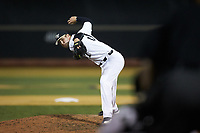 Wake Forest Demon Deacons relief pitcher Antonio Menendez (27) in action against the North Carolina State Wolfpack at David F. Couch Ballpark on April 18, 2019 in  Winston-Salem, North Carolina. The Demon Deacons defeated the Wolfpack 7-3. (Brian Westerholt/Four Seam Images)