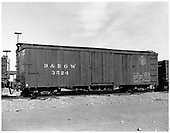 D&amp;RGW box car #3524.<br /> D&amp;RGW  Antonito, CO  Taken by Payne, Andy M. - 12/7/1977
