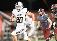 NWA Democrat-Gazette/CHARLIE KAIJO Bentonville West High School Nick Whitlatch (20) runs the ball for a score during a football game, Friday, October 4, 2019 at Springdale High School in Springdale.