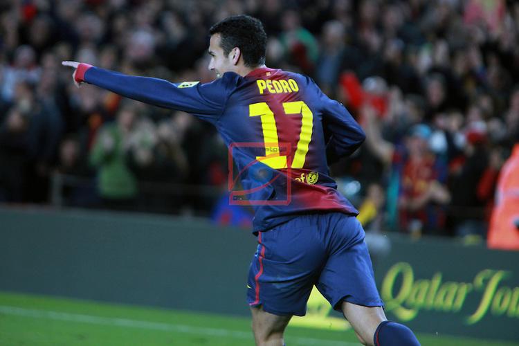 Pedro. FC Barcelona vs RCD Espanyol: 4-0 - LFP League BBVA 2012/13 - Game: 18