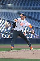 Braxton Garrett (36) of the East team pitches during the 2015 Perfect Game All-American Classic at Petco Park on August 16, 2015 in San Diego, California. The East squad defeated the West, 3-1. (Larry Goren/Four Seam Images)