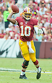 Washington Redskins quarterback Robert Griffin III (10) looks to pass during second quarter action against the Detroit Lions at FedEx Field in Landover, Maryland on Sunday, September 22, 2013.<br /> Credit: Ron Sachs / CNP