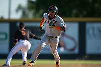 San Jose Giants third baseman Wander Franco (12) hustles to third base during a California League game against the Modesto Nuts at John Thurman Field on May 9, 2018 in Modesto, California. San Jose defeated Modesto 9-5. (Zachary Lucy/Four Seam Images)