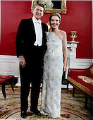 Inaugural Photo of United States President Ronald Reagan and first lady Nancy Reagan taken in the Red Room at the White House in Washington, DC before attending the Inaugural Balls on Tuesday, January 20, 1981.  <br /> Mandatory Credit: Michael Evans - White House via CNP