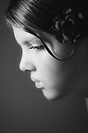 Close up of a young girl in profile